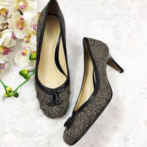 Ann Taylor Loft Tweed Heels Leather Tassels  Sz 8